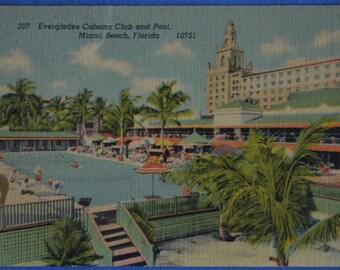 Miami Beach Florida Everglades Cabana Club and Pool Linen Postcard