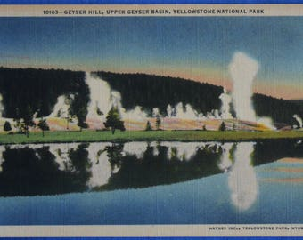 Geyser Hill Upper Basin Yellowstone National Park Wyoming Linen Postcard