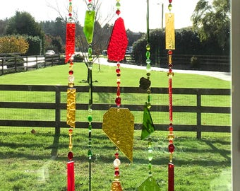 Stained Glass Sun Catcher, Red Glass Mobile, Green Wind Chime, Gold Beaded Chimes, Glass Wind Chimes, Glass Windchimes, Suncatchers, 8559