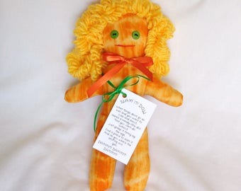 DAMMIT or DANG IT Stress Relief Doll Orange/Yellow Yellow Curly Hair