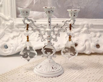 Shabby Romantic Chic Vintage   3 Arm Candelabra Gorgeous Shabby Distressed French Chic