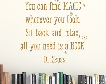 Wall Quote Decal All You Need Is A Book Dr. Seuss Inspirational Wall Art Decor Vinyl Wall Decal Reading Nook Library Book Worm Gifts
