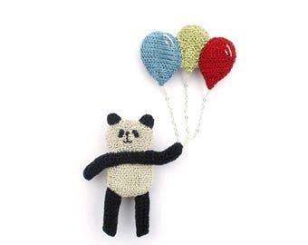 Panda holding a bunch of balloons brooch - panda brooch, panda jewelry