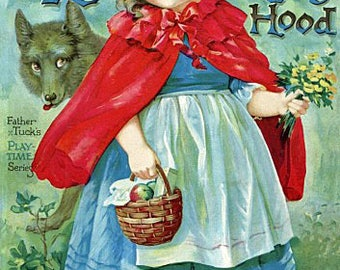 Little Red Riding Hood Reproduction Fabric Crazy Quilt Block Free Shipping World Wide (K3