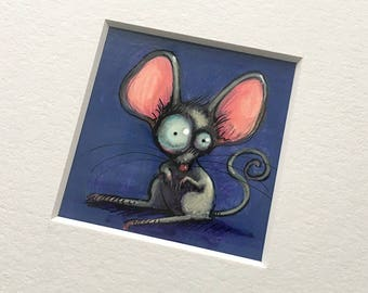 """NEW MINIATURE! """"Zen"""", original miniature mixed media 2"""" x 2"""" matted to 6x6"""" mouse, silly, crazy eyes, illustration, painting"""