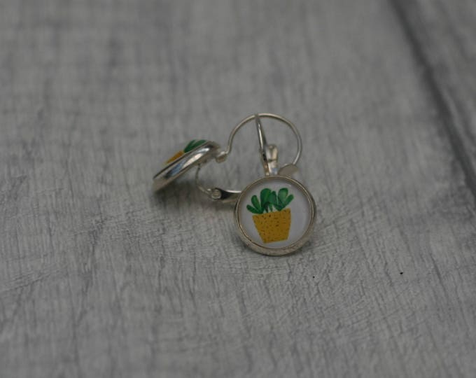 Cactus Earrings, Cacti Illustration, Dangle Earrings, Plant Jewelry