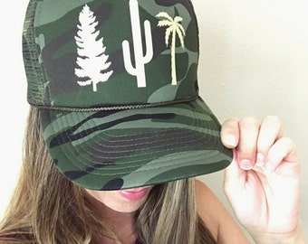 Tree Hugger, Women's Trucker Hat, Camo Hat, Adjustable, Camo Snapback, Cactus Hat, Pine Tree, Palm Tree, Camping Hat