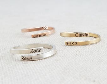 Custom Name Ring  • Simple Personalized Ring •  Friend Ring  • Mom • Sterling Silver Ring  • 14K Gold Filled  • Personalized Ring