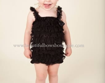 Black Petti Lace Romper and Headband,Ruffle Lace Infant Toddler Outfit,Baby Baby Romper,Toddler Lace Romper,Ruffle romper Black,Toddler Girl