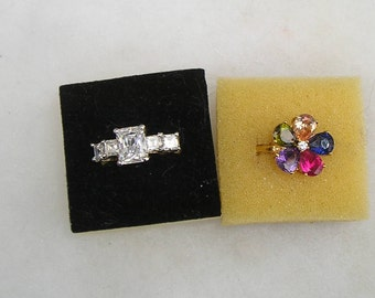 Two Lovely Costume Cubic Zirconia's CZ's Rings Lot