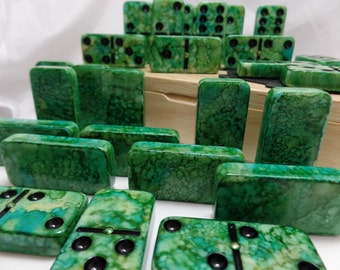 Dominoes 'Mossy Green' Hand Painted 28 Piece Professional Size Domino Set in Lidded Wood Storage Box, SPINNERS, alcohol inks, instructions