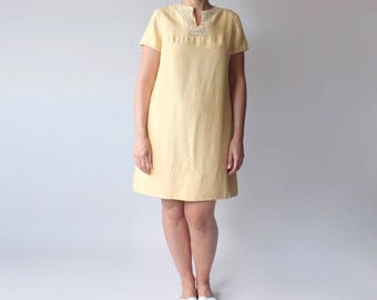 vintage yellow raw silk shift dress | beaded collar | 1960s medium