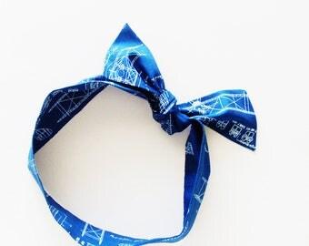 Antique Airplane Blueprints Head Scarf / Multipurpose Hair Accessory, Neck Tie, Handbag or Walker Adornment, Pet Neckerchief / Gift Under 25