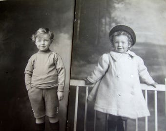Two Studio Photo Postcards of Children  - 1910s Vintage British Black and White Found Photo Postcards, Small Children, Brother and Sister
