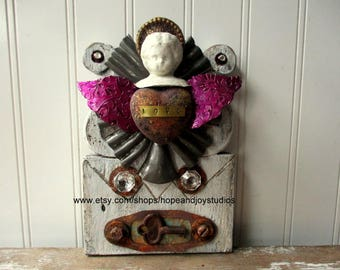 Mixed media Assemblage altered art folk art angel heart love shrine icon Love is Key Original one of a kind upcycled vintage elements