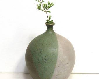 Classic 1960s Weedpot Stoneware Vase/ Vintage Wheel Thrown Art Studio Pottery