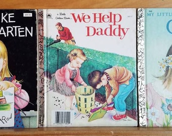 3 Eloise Wilkin Vintage Golden Books * We Help Daddy * We Like Kindergarten * God