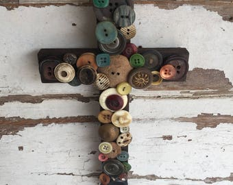 Mosaic Cross Wall Hanging - Vintage Buttons burned in Housefire  - Redemption