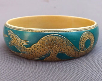 Art Deco Chinese dragon upper arm bracelet carved celluloid moriage armlet flapper jewelry cream and peacock green or teal hand painted