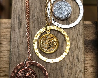 Druzy Necklace, rose gold necklace, rose gold druzy, Faux Druzy Necklace, Druzy Pendant, Boho Jewelry, Druzy Necklace, summer jewelry