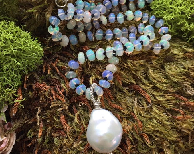 Featured listing image: Opal Necklace Hand Knotted Silk and Baroque Pearl October Birthstone Jewelry Opal and Silk Necklace
