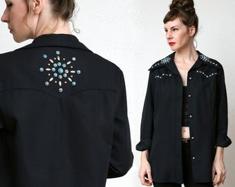 70s Studded Shirt . Turquoise & Silver