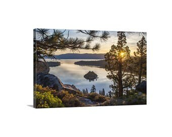 Lake Tahoe, Gift, Picture of Sunrise, Landscape Photograph, Emerald Bay, Sierra Mountains, Western Picture, Canvas Print, Sunset, Wall Art