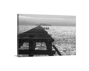 Berkeley Pier, Alcatraz Island, California Art, San Francisco Bay, Black and White, Northern California, Photograph on Canvas, Foggy, Piers