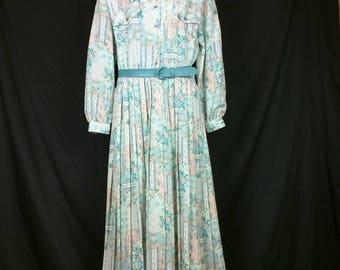 Vintage Green Pink Turquoise Blue White Light Blue Floral Stripe Print Shirt Dress Belt Misses 12 XL Schrader