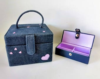 Wolf Designs Small Jewelry Box Purse, Navy Denim Purse Travel Case removable valet tray decorative hearts, earring necklace makeup boho chic