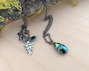 Iridescent Green Beetle Necklace   Cute Insect Charm Necklace   Nature Jewelry    Woodland Crystal Beetle   Nature Jewelry