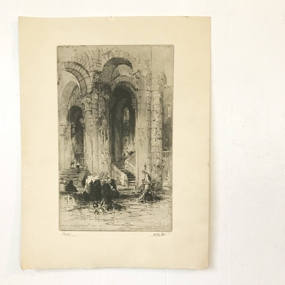 vintage Talio Chrome etching print - Devotion - Hedley Fitton - Saint Helaire Poitiers - religious art