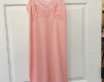 Vintage Top Form Full Pink Lace Nylon Slip size 32 small