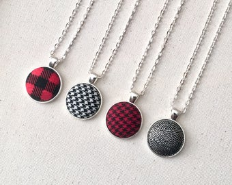 Handmade Fabric Button Necklace, Pendant Necklace, Statement Necklace, Jewelry, Plaid Necklace, Christmas Necklace, Gingham Fabric