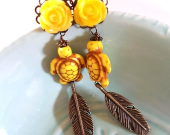 6g 4mm Yellow Turtle Feather Dangle Plugs for Stretched Ears-Piercing-Surgical Steel- Bohemian Gauges-316L Fashion Plugs-Girly Hippie Boho
