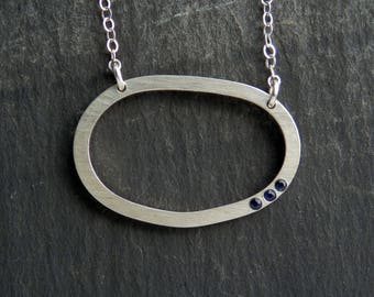 Dainty sapphire necklace / sapphire jewelry / September birthstone / sapphire necklace / sapphire pendant / organic silver / ready to ship
