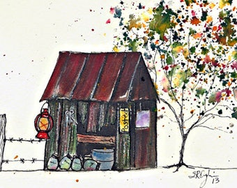 """Old Shed and Jars, 5 x 7"""" Print of watercolor painting"""