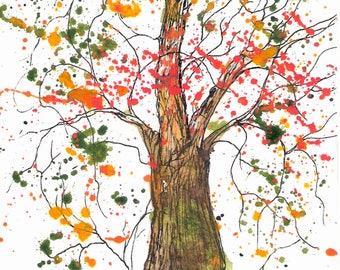 "Blaze of Autumn Tree, 5 x 7"" Print of watercolor"