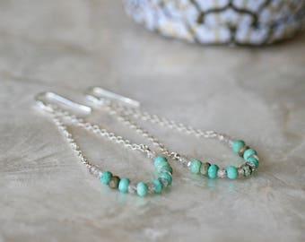 Chrysoprase Earrings, Swing Earrings, Smile Earrings, Zircon Earrings, Long Earrings, Beaded Earrings, Gemstone Earrings, Teal Earrings