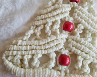 Vintage Macrame Tree, White with Pink Beads, Christmas Decoration, Wall Hanging