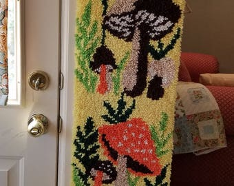 Funky Vintage Mushrooms Latch Hooked Rug Wall Hanging, 1960s Chic, 5 feet Long