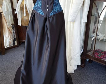 Ready to ship Sample Sale Black duchess satin and turqiouse lace Bridal gown with steel boned corset