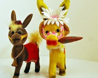 Pair of Flocked Donkeys