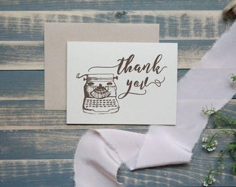 Vintage Typewriter Rustic Thank You Card Set | Personal Stationery |  Stationary Set | Gift for Her | Christmas Gift | Teacher Gift