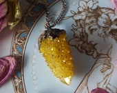 Spirit Quartz Necklace - Spirit Quartz Pendant - Golden Ray Spirit Quartz - Yellow Gold Spirit Quartz Necklace - Fairy Cactus Spirit Quartz