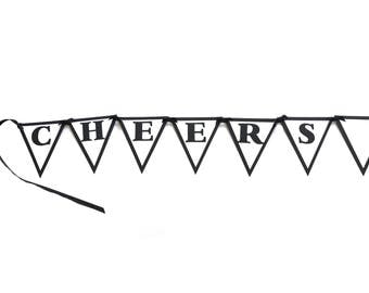 40th Birthday Banner - Cheers to 40 Years - Black, White or Your choice of colors, Pennants
