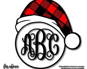 Buffalo Plaid Check Christmas Santa Hat Monogram Frame (monogram NOT included) SVG, EPS, dxf, png, jpg digital cut file Silhouette Cricut