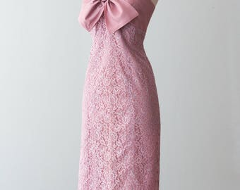 Vintage 1950s Dress - Early 50s Rose Pink Halter Dress w/ Matching Coat, Mauve Lace Skirt w/ Taffeta Bust & Bow Feature // Waist 27