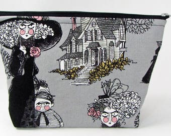 Ghastlies witches, large cosmetic bag, padded makeup bag, travel bag, toiletry bag for her, zippered bag, make up bag, fabric jewelry bag