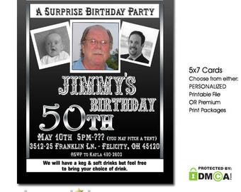 Surprise Birthday Party Invitation, Milestone 50th Birthday Invitation, Black Silver, Photo Birthday Invitation, 60th 70th 80th 90th ANY AGE